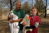 L-RAaron Thomas, and Dr. Ilse Oechler of CVA. Three ducks rehabed. January 29th, 2007. Release at Mill Pond Park. Photo by Kathy Leistner
