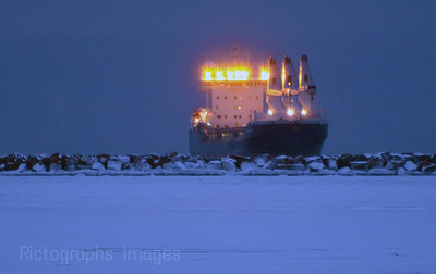 Freighter Waiting For A Load Of Grain In Thunder Bay Harbour