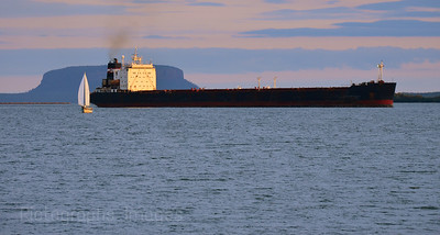 Shipping Freighter & Sailor on Lake Superior