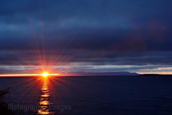 Lake Superior Sun Rise, Rictographs Images