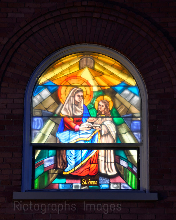 St Anne; Stained Glass; St. Peter's Church; Thunder Bay; Ontario; Canada;