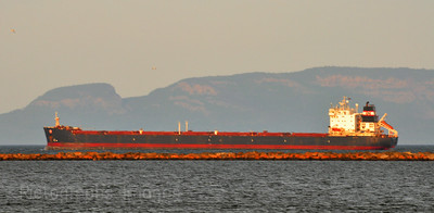 Sleeping Giant And Freighter At Thunder Bay On Lake Superior.