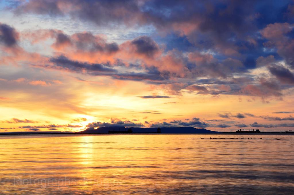 Nanabijou Sun Rise; Lake Superior, Rictographs Images, October 2015