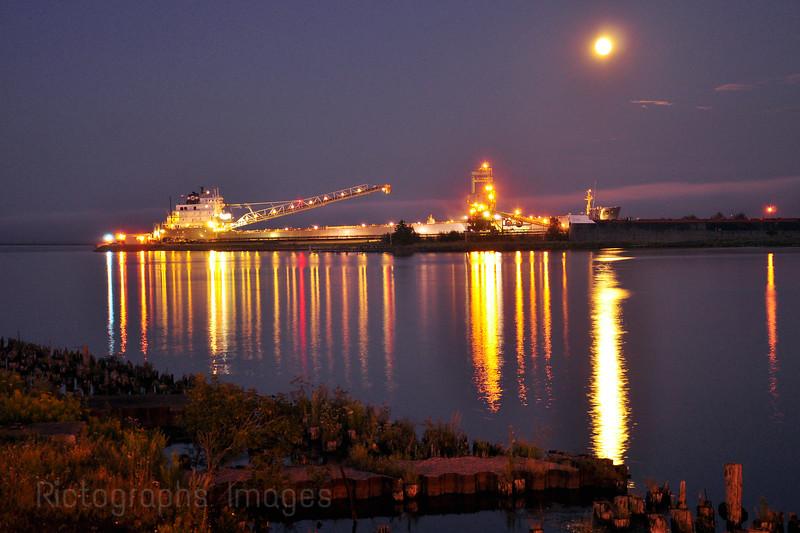 Coal Freighter in Port to Unload Coal