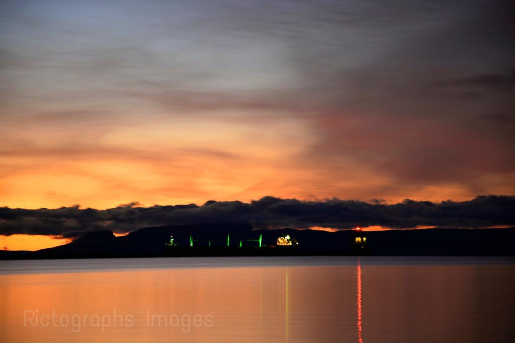 A Nanabijou Sun Rise, Thunder Bay, Ontario, Canada; Rictographs Images