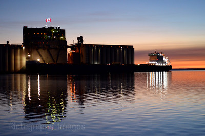 A Freighter Taking On A Load Of Grain