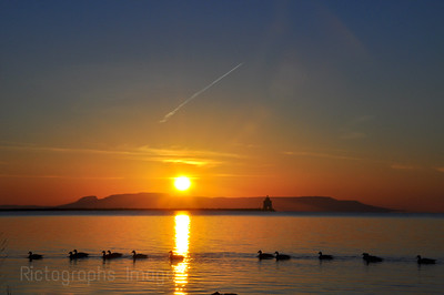 Geese and the Sleeping Giant at Sunrise
