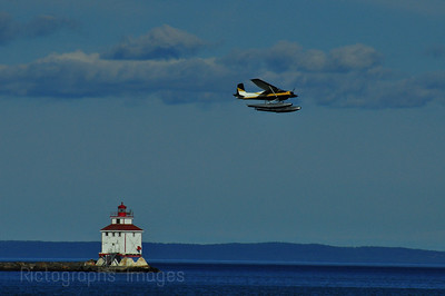 Float Plane Flying Over Thunder Bay Harbour