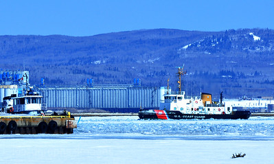 US Coast Guard Breaking Ice In Thunder Bay Harbour
