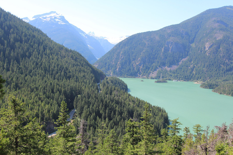 Looking down upon Ross Lake and Highway 20.