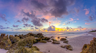 Clam Pass Fisheye Sunset Pano 2014