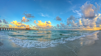 Pier Right Morning Fisheye Pano Yellow clouds 2014