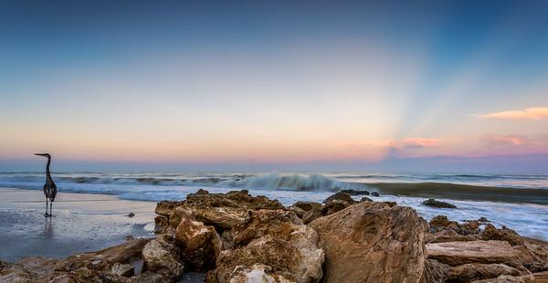 Clam Pass Sunrise Pano Rocks and GBH 2016