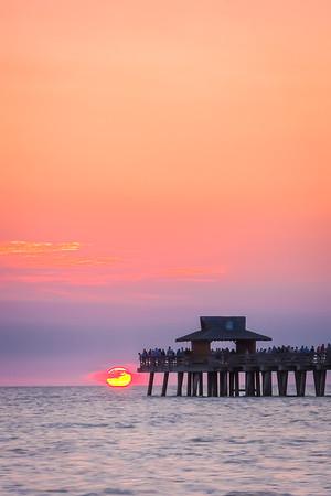 Sunset over Pier End Vertical