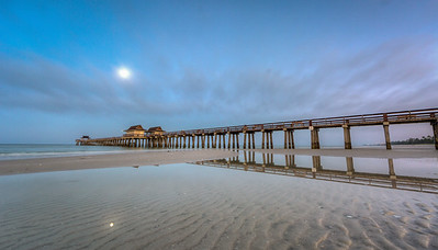 Naples Pier Sunrise with Moon Reflections 2016