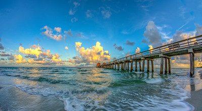Pier Left Morning Fisheye Pano Yellow Clouds 2014