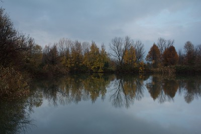 Torbiere Sebine natural area: an early autumn morning