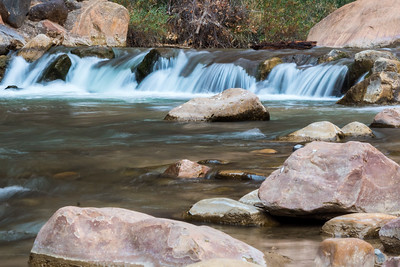 A small fall of the Virgin River flowing through Zion NP.