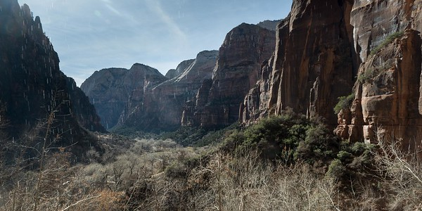 If you turn around at Weeping Rock, this is the view you have from under the over hang. Water weeping down over you.