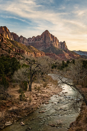 The obligatory sunset view of The Watchman from the bridge, Zion NP.