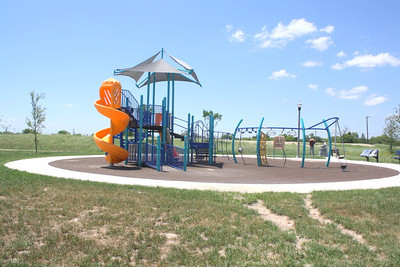 One of the new playground facilities at the park. The ground surface is a special soft material.