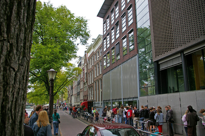 The Anne Frank House and Museum. There is always a line down the street and around the corner.  They are open till 10:00pm every day to handle the thousands of people who visit the house daily.
