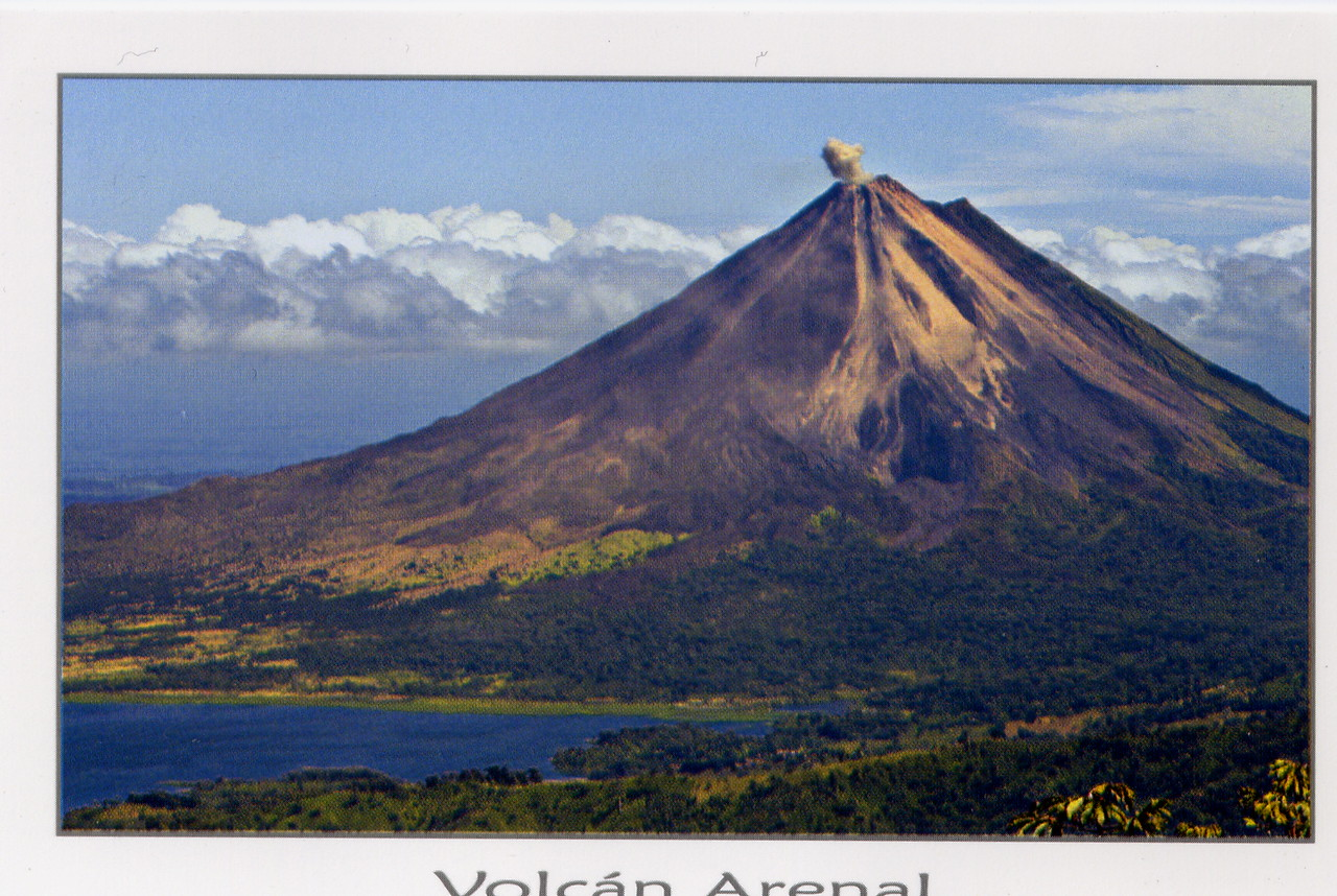 For the whole week we were there the top of the volcano was in the clouds.  This postcard shows what it would have looked like.