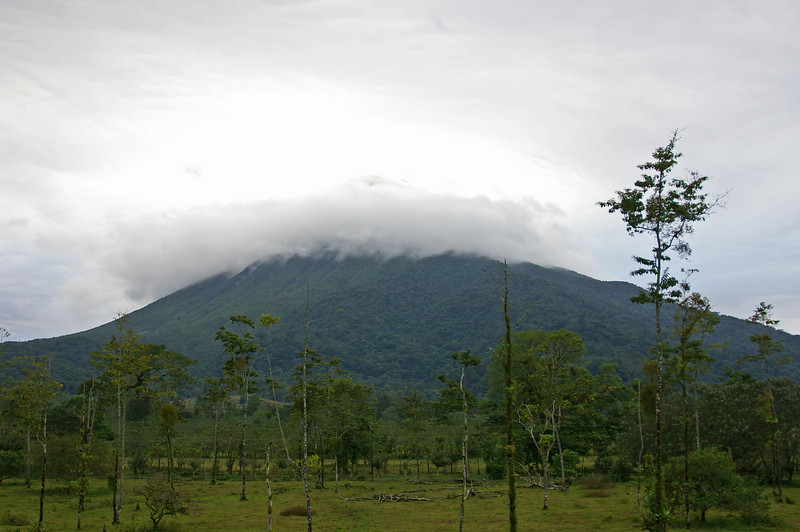 This is what the big volcano at Arenal looks like most of the time.  There is almost always a mass of clouds over the peak.