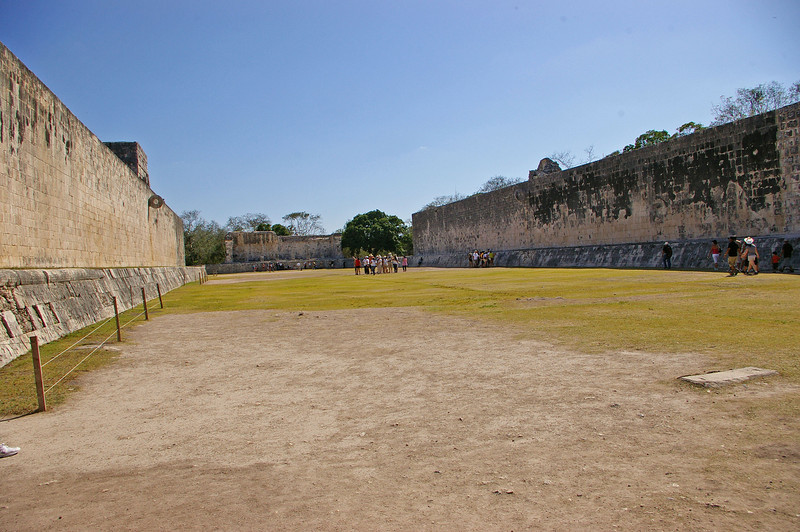 Juego de Pelota.  This was a court where a game was played.  The goal was thought to get a ball through the stone loops high up on the wall.  See next photo.