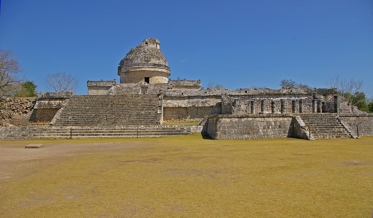 El Caracol. (The snail) has a spiral staircase going up the round part.This was built as a celestial observatory.  Astronomers were the most respected of all the Mayan people.