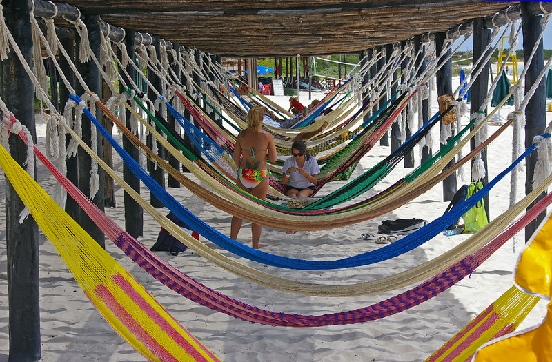 Hammocks are very popular at the beaches