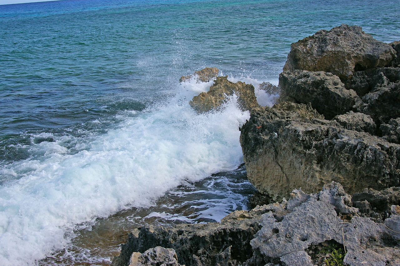 On the East side of the island the water is rougher and the shore is rugged.  Swimming and diving are risky.