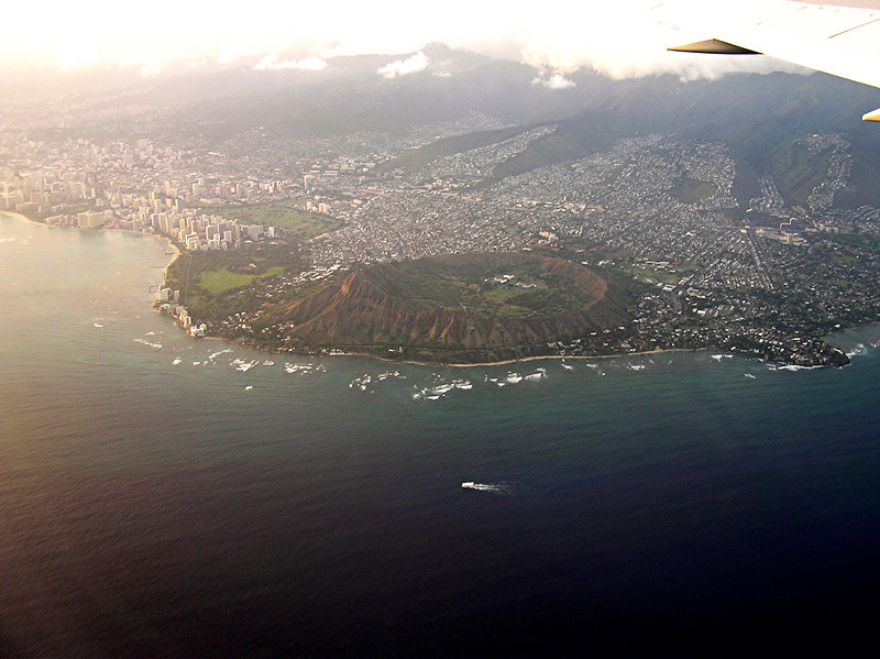 Honalululu and Diamond Head Crater from plane.