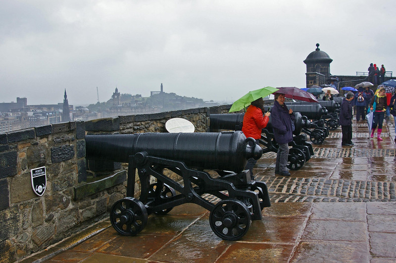 Cannons overlooking Edinburgh, from Castle