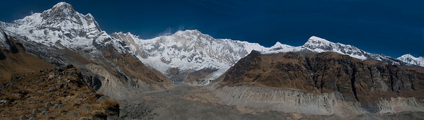 View of the Annapurna Range of mountain from Annapurana Base Camp. 5 photographs stitched together in Photoshop.