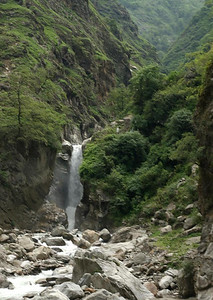 Waterfalls along the trail. This waterfalls is in Nepal.
