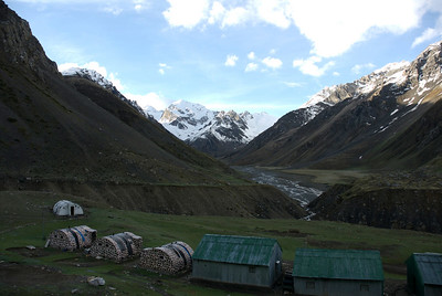 The Indian Army camp at Nabhidang. Beyond the valley is the mountain the Hindus call Om Parvat.