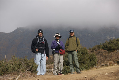 Oct 26th. On our way to Everest View Hotel. Anand, Deepa and Jitu our Guide.