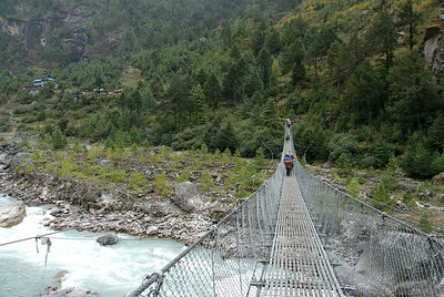 One of the many bridges we had to cross. This used by people and yaks.