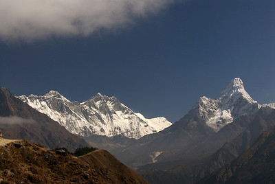 View of Everest, Lhoste, Lhoste Shar and the first view of Ama Dablam. ( on the right )