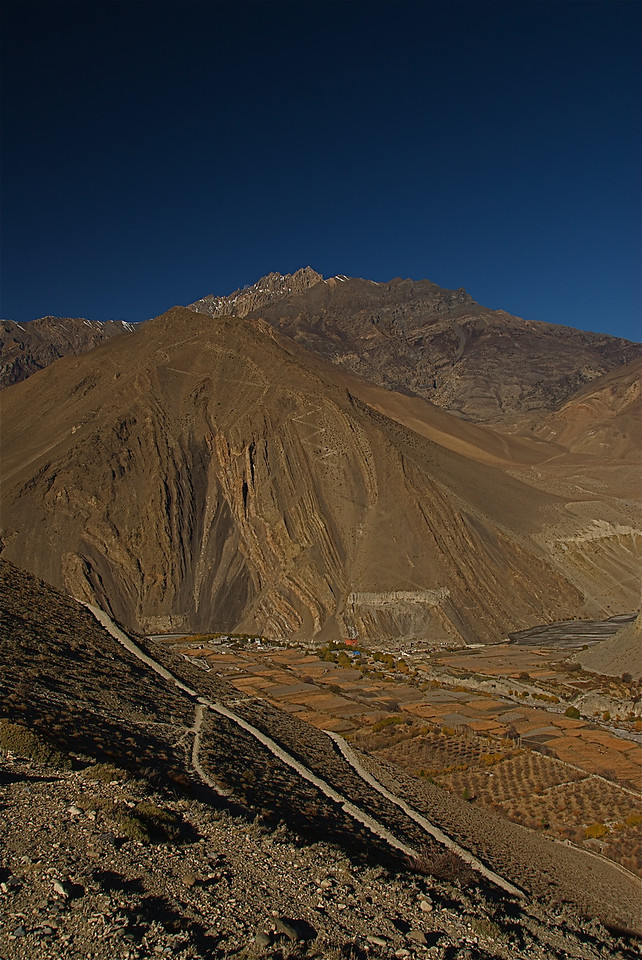 Kagbeni to Muktinath - Nov 17. You can see the village of Kagbeni far below.