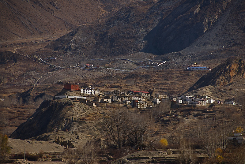 Jharkot Nov 17th. Muktinath temple and the white compound wall can be seen in the background.