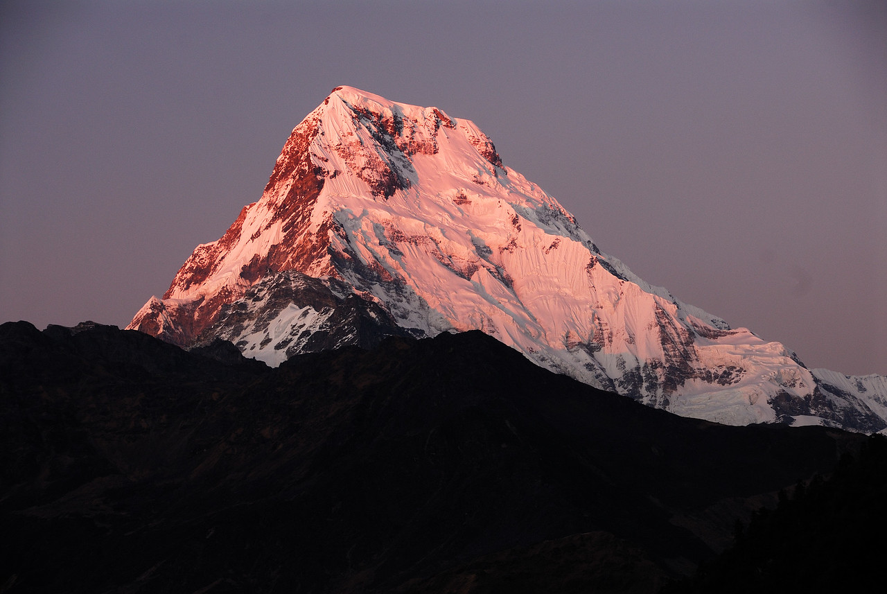 Annapurna South at 5 pm on Nov 22nd. Photo taken from Ghorepani, Nepal.