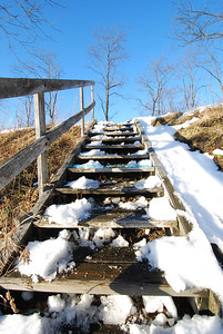 Snowy steps to the sky, near the old overpass at Blackwater Falls State Park.