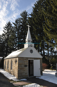 "Our Lady of the Pines, in Silver Lake, WV.  Known as the ""Smallest Church in the 48 States.""  Located along US-Rt 119."