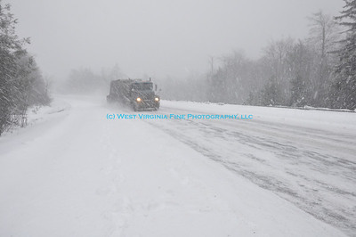 Along the road to Mt. Storm, a tractor-trailer driver makes his way through the snow.