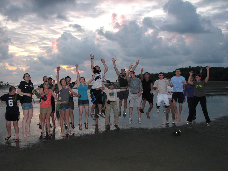 My students can jump higher than your students.  At sunset on New Years day at Uvita.