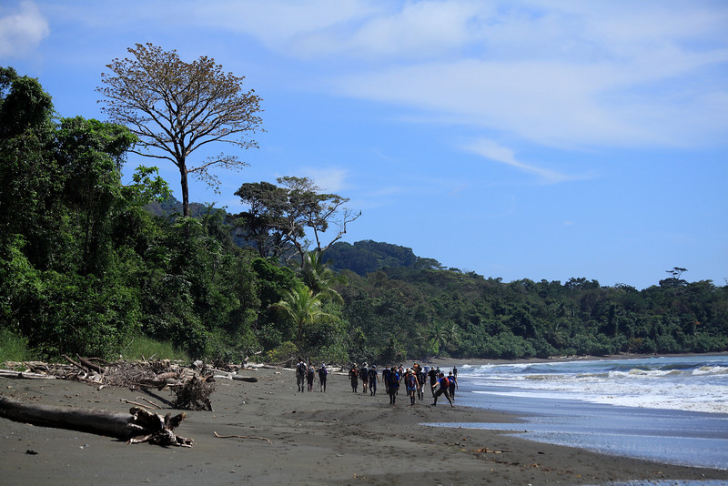 Hiking on the beach at Sirena, Corcovado National Park