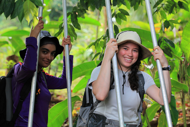 Maryam and Danielle transporting poles for a mist-netting project