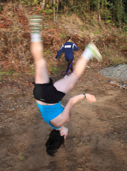 Danielle doing another flip